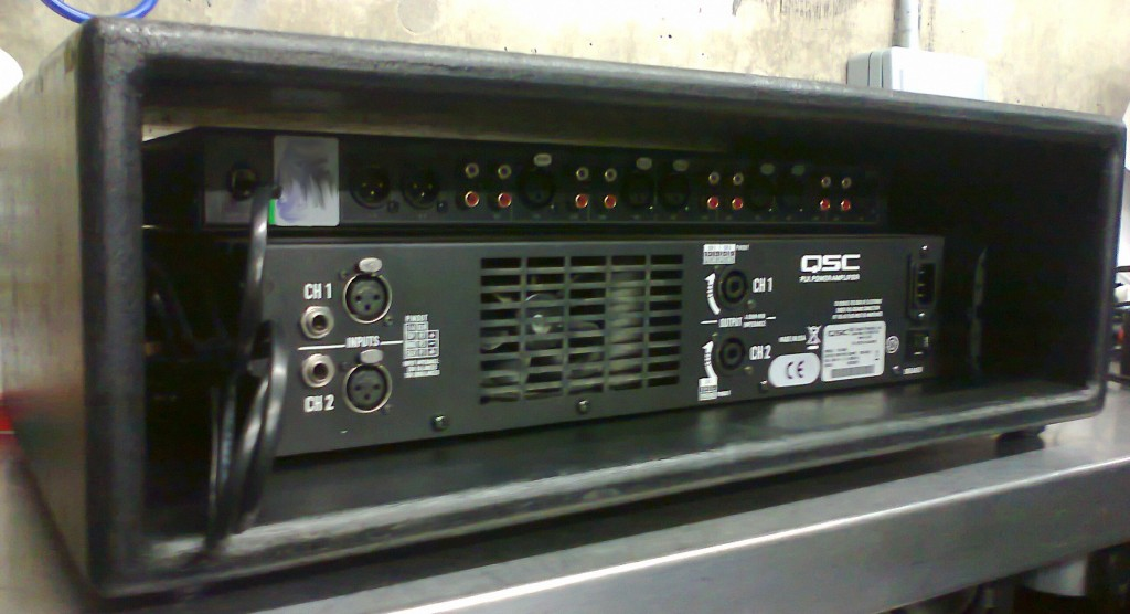 loaded 3u rack from rear