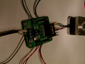 H bridge wired to a bipolar stepper motor